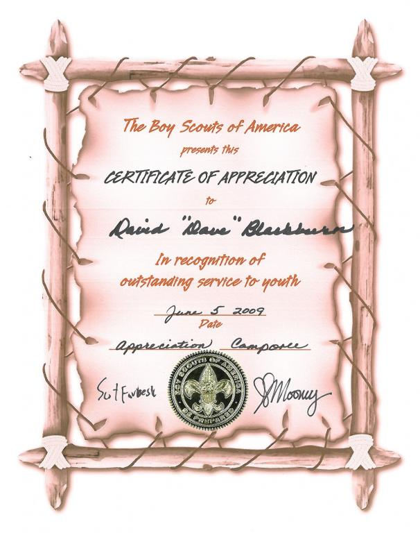Certificate of appreciation for camporee 2009 david blackburn david b certificate of appreciation for camporee nc 2009 yelopaper Choice Image